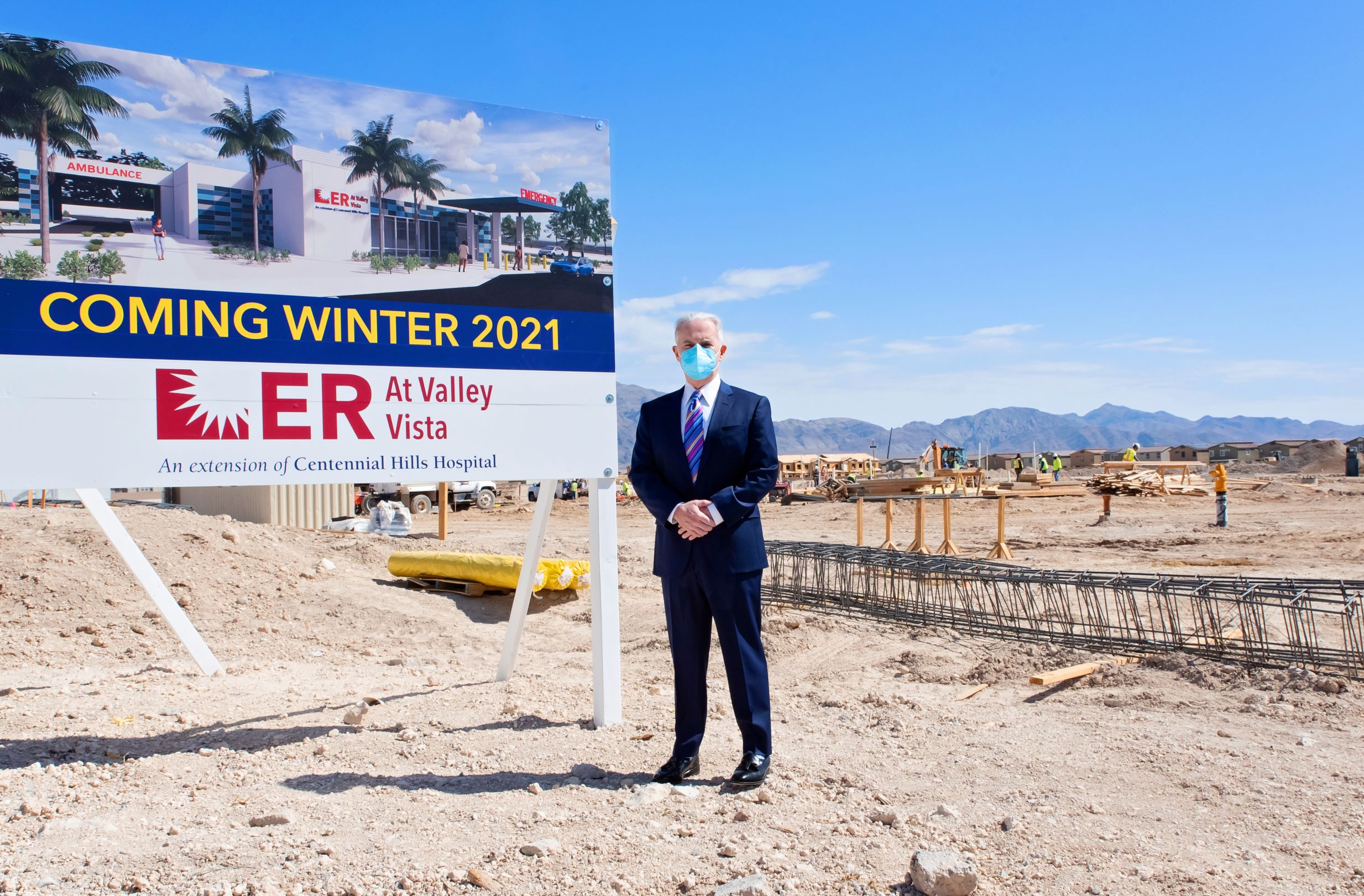 Dr. Cercone standing at the site in North Las Vegas where the new freestanding ER will be located.