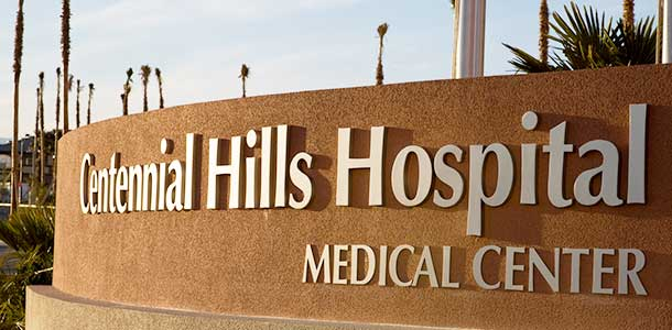 Centennial Hills Hospital exterior shot of the sign.