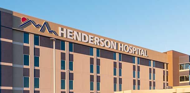 Henderson Hospital exeterior shot of building.
