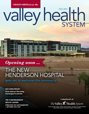 Cover of Fall 2016 Valley Health System, Health News Online magazine.