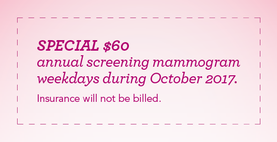 $60 Mammogram Screenings